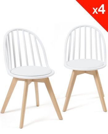 Chaises Scandinaves Bistrot - Coussin - Bold style Windsor - Blanc
