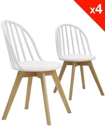 Lot de 4 chaises scandinaves bistrot avec coussin - Blanc