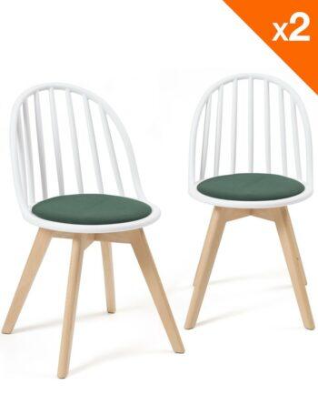 Lot de 2 chaises Bistrots Coussin - Bold WIndsor - Blanc Vert