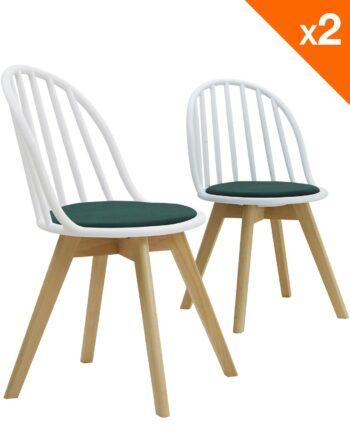 Lot de 2 chaises scandinaves bistrot avec coussin - Blanc et vert
