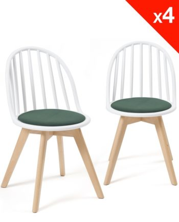 Chaises Scandinaves Bistrot - Coussin - Bold style Windsor - Blanc vert