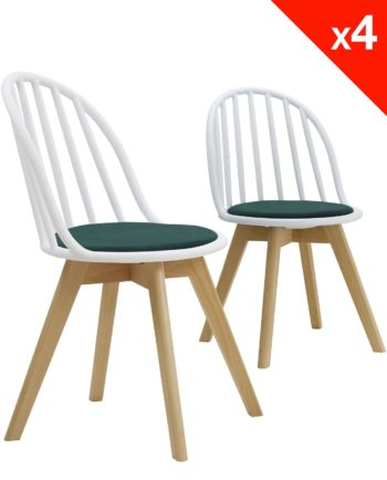 Lot de 4 chaises scandinaves bistrot avec coussin - Blanc et vert