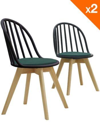 Lot de 2 chaises scandinaves bistrot avec coussin - noir et vert