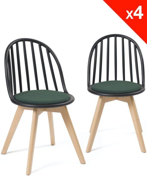 Chaises Scandinaves Bistrot - Coussin - Bold style Windsor - Noir vert