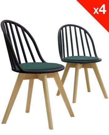 Lot de 4 chaises scandinaves bistrot avec coussin - noir et vert