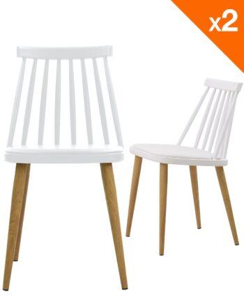 Lot de 2 chaises WIndsor scandinave avec coussin - Blanc