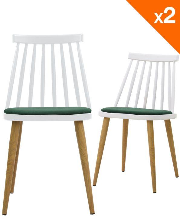 Lot de 2 chaises WIndsor scandinave avec coussin - Blanc et vert