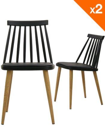 Lot de 2 chaises WIndsor scandinave avec coussin - Noir