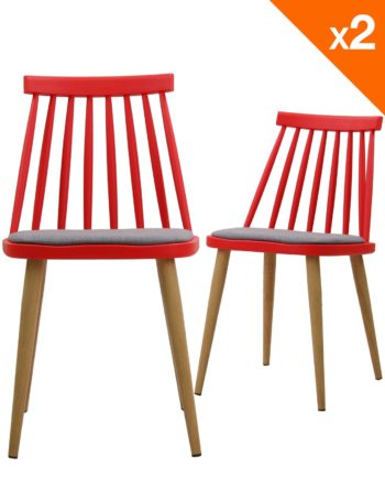 Lot de 2 chaises WIndsor scandinave avec coussin - Rouge et gris