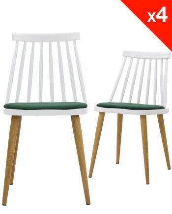 Lot de 4 chaises WIndsor scandinave avec coussin - Blanc et vert