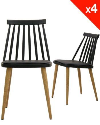 Lot de 4 chaises WIndsor scandinave avec coussin - Noir