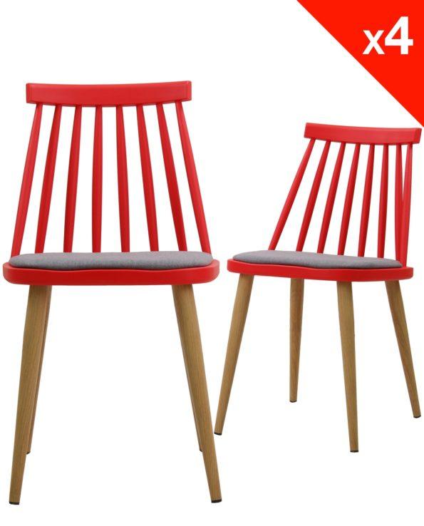 Lot de 4 chaises WIndsor scandinave avec coussin - Rouge et gris
