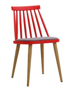 Lot de 4 Chaises Windsor scandinave - kayelles - rouge et gris