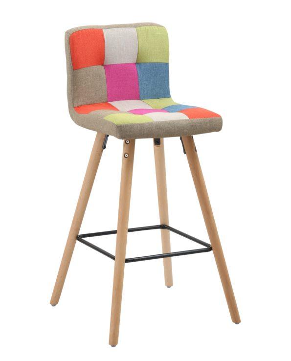 Tabouret de bar patchwork - Style Scnadinave bois - Tissu rembourré - Haut dossier