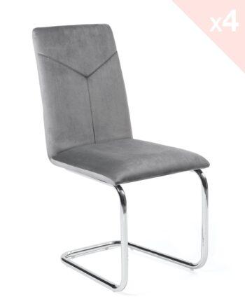 Chaise salle à manger - Velours gris - Lot de 4 - TANA Kayelles