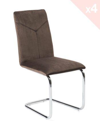 Chaise salle à manger - Velours marron - Lot de 4 - TANA Kayelles