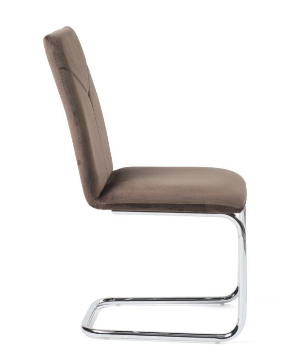 chaises-salle-a-manger-haute-velour-marron-kayelles