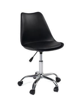 chaise-bureau-design-roulettes-pas-cher-noir-leo