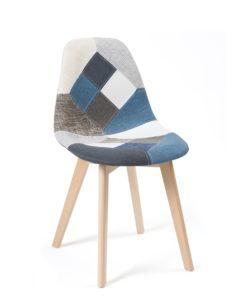 Chaise Scandinave Patchwork Bleu tissu - piètement Bois