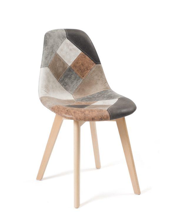 Chaise Scandinave Patchwork cuir Marron - piètement Bois