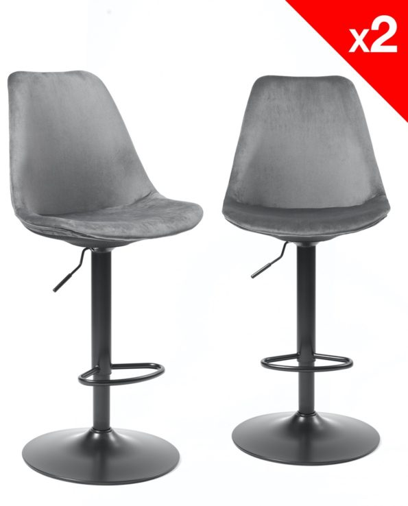 Chaises de Bar - Gris velours - Lot de 2 - SOSA