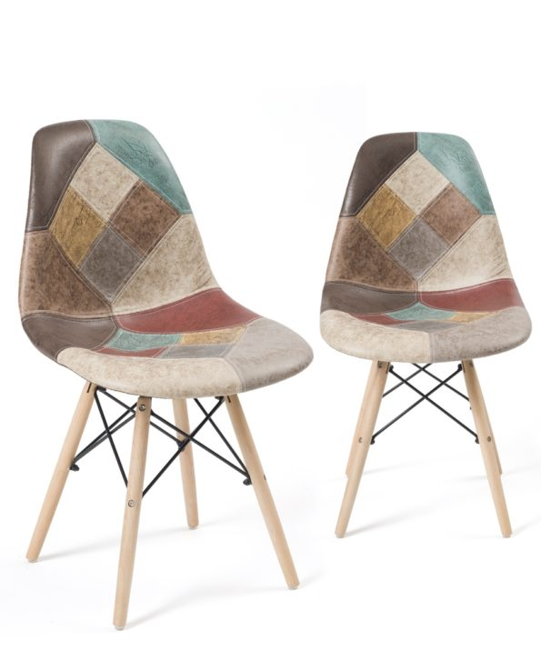 Chaises Scandinaves Patchwork - Marron similicuir