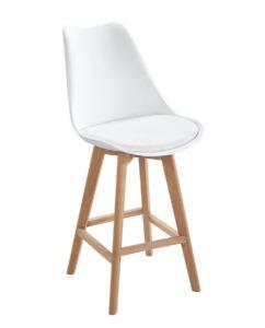 Lot de 2 Chaises de Bar Scandinaves coussin confort Blanc