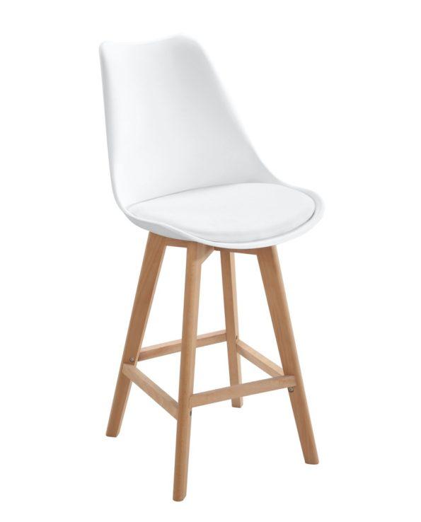 Lot De 2 Chaises Bar Scandinaves Coussin Confort Blanc