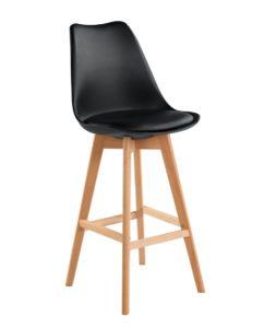 Lot de 2 Chaises de Bar Scandinaves coussin confort Noir