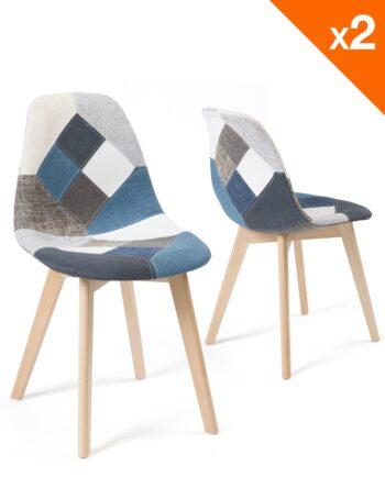 Lot de 2 chaises Patchwork sTissu bleu - Scandinaves - Salle à manger - Cuisine