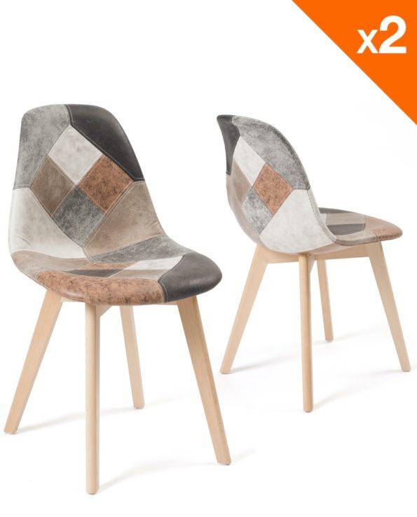 Lot de 2 chaises Patchwork simili cuir Marron - Scandinaves - Salle à manger - Cuisine