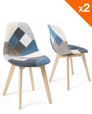 Lot de 2 chaises Patchwork Bleu - Scandinaves - Salle a manger - Cuisine