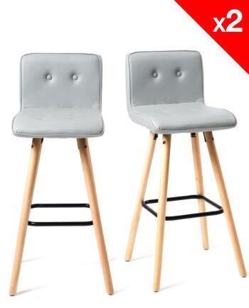 Lot de 2 tabourets de bar - Chaises de bar -cuisine - Scandinave - Gris clair