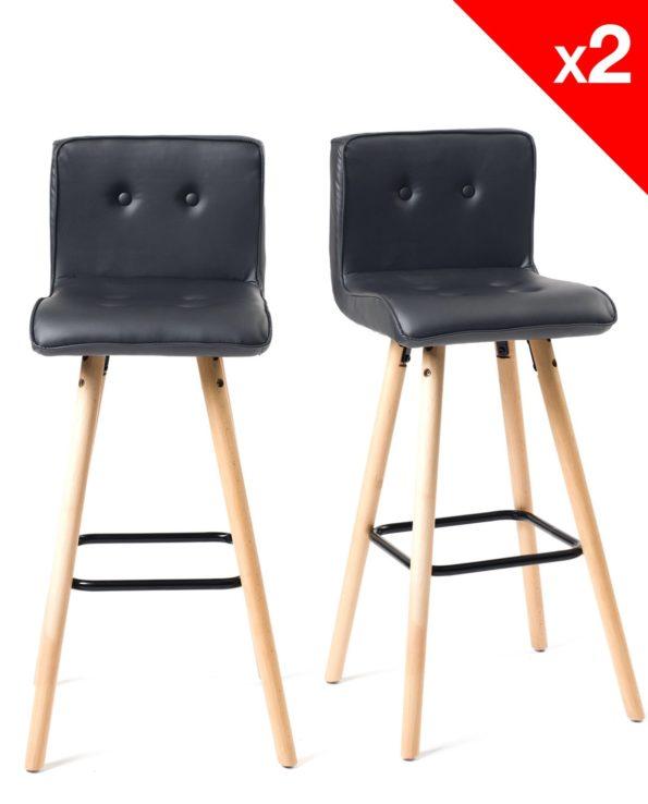 Lot de 2 tabourets de bar - Chaises de bar -cuisine - Scandinave - Noir