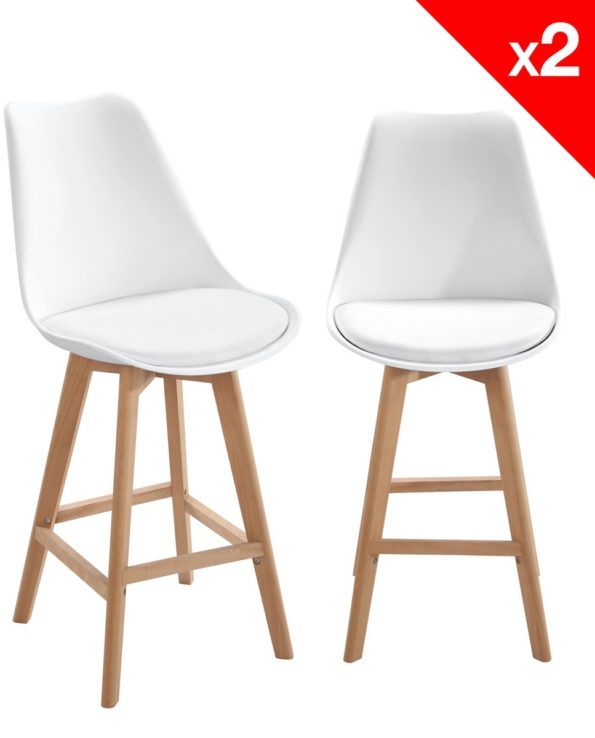 Lot de 2 chaises de Bar Scandinave - Blanc