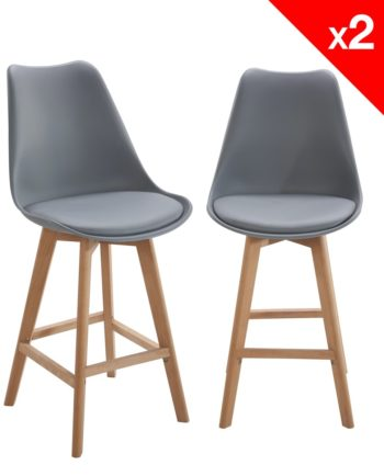 Lot de 2 chaises de Bar Scandinave - Gris