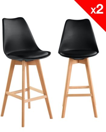 Lot de 2 chaises de Bar Scandinave - NOir
