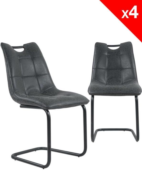Lot de 4 chaises Salle à manger Design - POSH - Noir