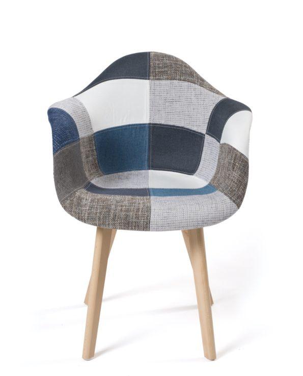 Lot de 2 chaises accoudoirs Scandinaves - Patchwork bleu - Kayelles