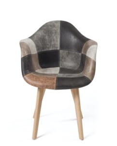 Lot de 2 chaises accoudoirs Scandinaves - Patchwork marron - Kayelles