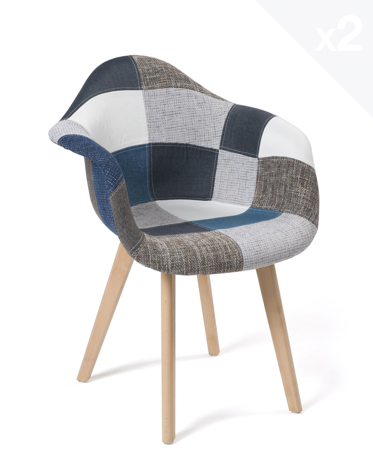 fauteuils scandinaves patchwork neda lot de 2