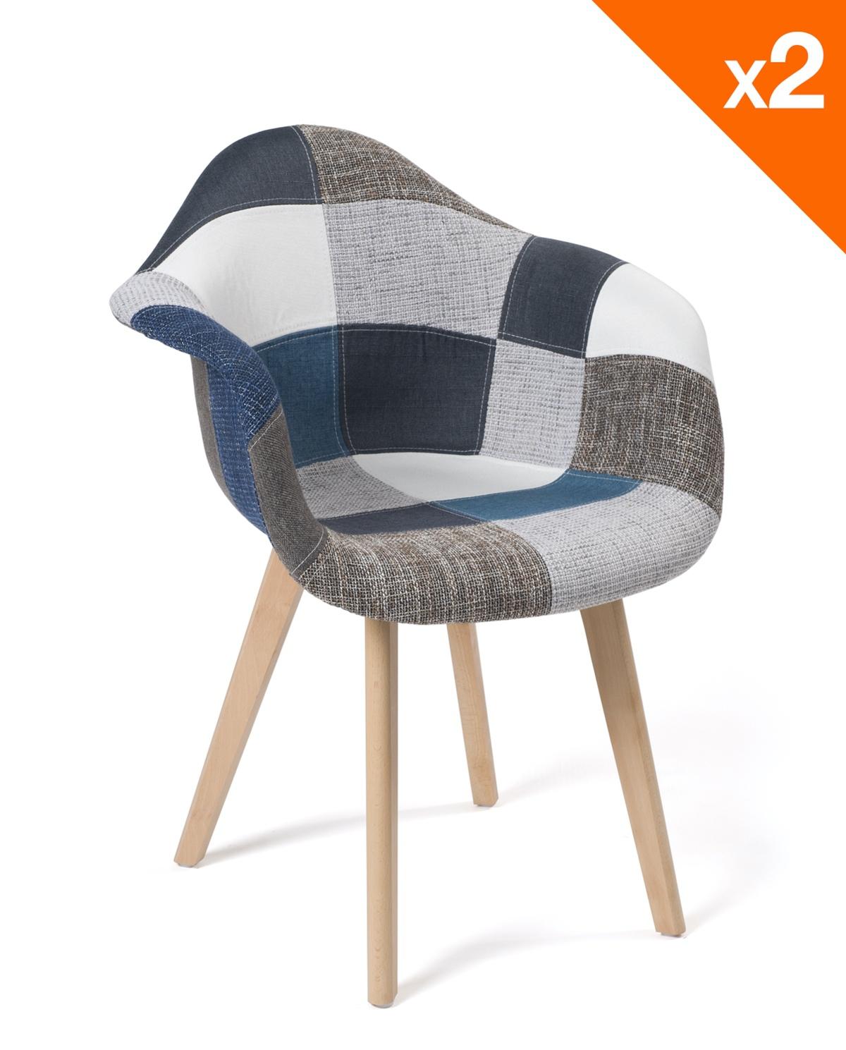Fauteuils design Scandinaves Patchwork Gris Lot de 2