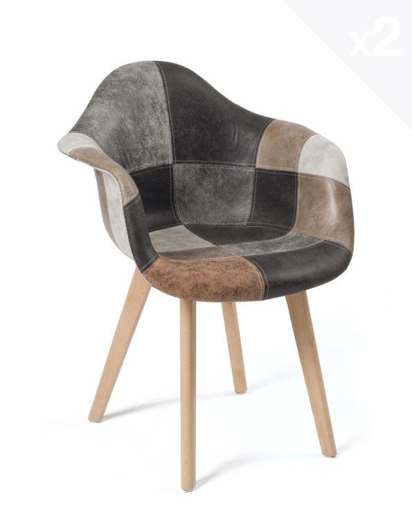 lot-2-chaises-scandinaves-patchwork-marron-kayelles