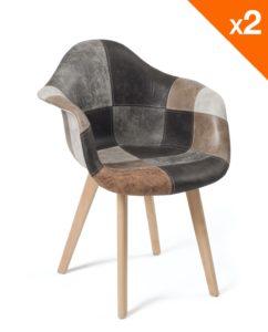 lot de 2 chaises Scandinaves - Patchwork marron - Kayelles