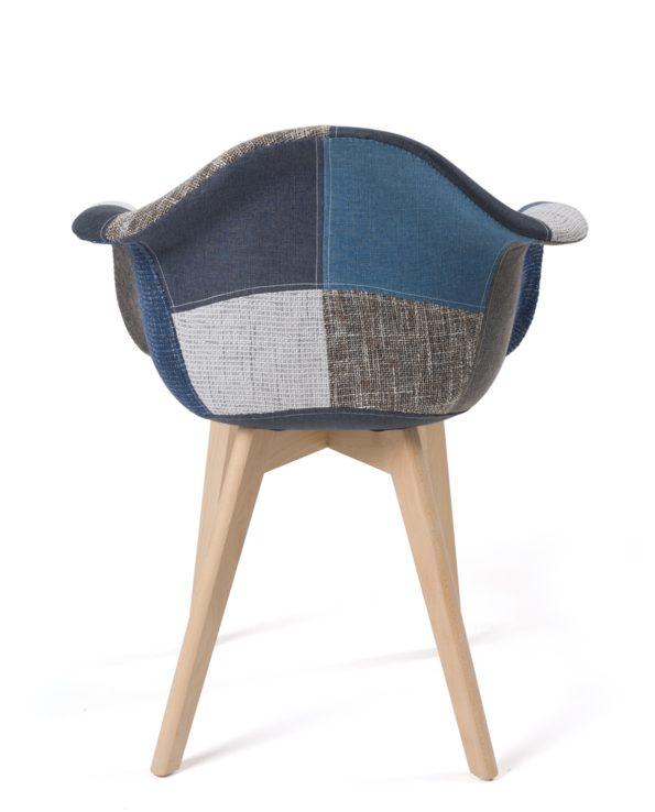 lot de 2 chaises Scandinaves patchwork - Tulipe - Bleu