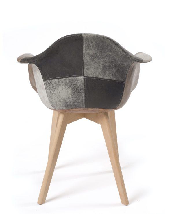 lot de 2 chaises Scandinaves patchwork - Tulipe - Marron