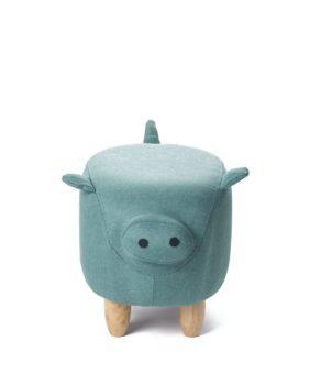 Tabouret Pouf Cochon chanceux - Ottoman Enfant Bois Turquoise