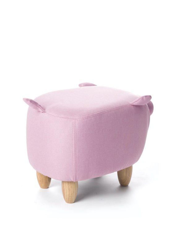 Tabouret-pouf-Cochon-ottoman-enfant-Bois-BOB-rose