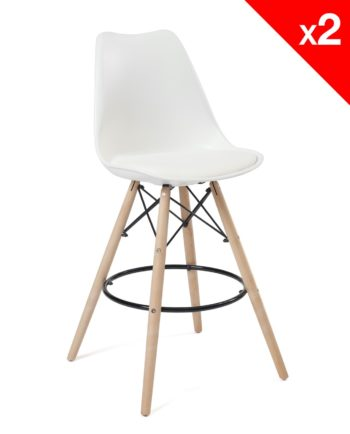 Chaise de Bar Scandinave coussin - blanc