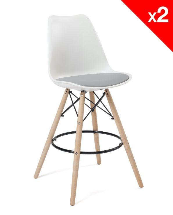 Chaise de Bar Scandinave coussin - blanc et gris